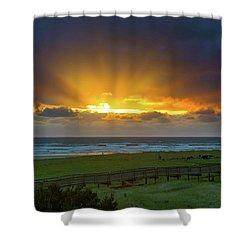Sun Rays At Long Beach Washington During Sunset Shower Curtain