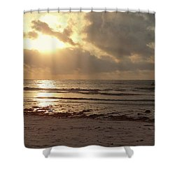 Sun Rays On The Water With Wooden Dhow Shower Curtain
