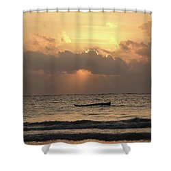Sun Rays On The Water With Wooden Dhows Shower Curtain