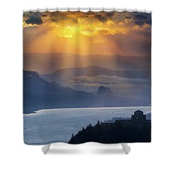 Sun Rays Over Columbia River Gorge During Sunrise Shower Curtain