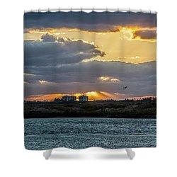 Sun Rays Over The Intracoastal  Shower Curtain by Nance Larson