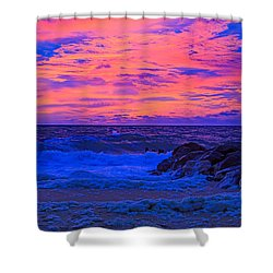 Sun Rays Painted Sky Shower Curtain by Allan Levin