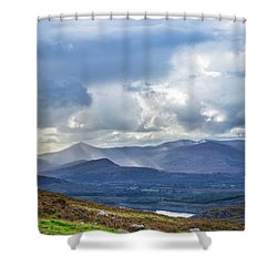 Shower Curtain featuring the photograph Sun Rays Piercing Through The Clouds Touching The Irish Landscap by Semmick Photo