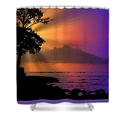 Shower Curtain featuring the photograph Sun Rays Sunset by Lori Seaman
