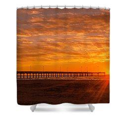 Sun Rising At Port Aransas Pier Shower Curtain
