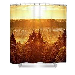 Sun Rising At Swamp Shower Curtain