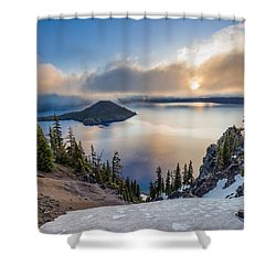 Sun Rising Through Mists Shower Curtain