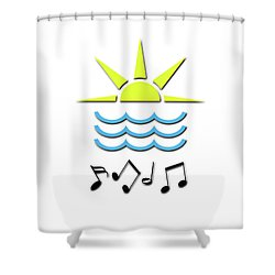 Sun, Sea And Music Shower Curtain by Linda Prewer