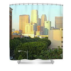 Sun Sets On Downtown Los Angeles Buildings #1 Shower Curtain