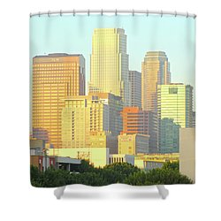 Sun Sets On Downtown Los Angeles Buildings #2 Shower Curtain