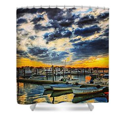 Reflections On The Marina Shower Curtain