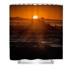 Sun Setting Behind Santa Cruz Island Shower Curtain by John A Rodriguez
