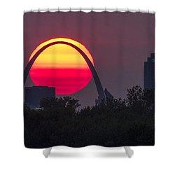 Sun Setting Behind St Louis Arch Shower Curtain