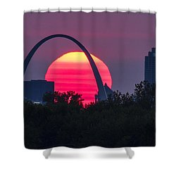 Sun Setting Behind The Arch Shower Curtain by Garry McMichael
