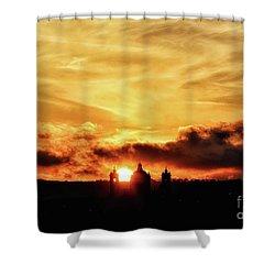 Sun Setting Down Behind Church Shower Curtain by Stephan Grixti
