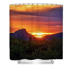 Shower Curtain featuring the photograph Sun Setting On Red Mountain  by Saija Lehtonen