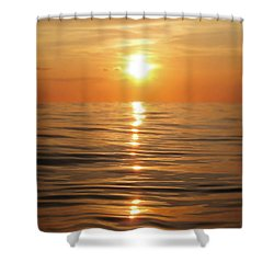 Sun Setting Over Calm Waters Shower Curtain