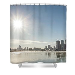 Sun Setting Over Chicago Shower Curtain