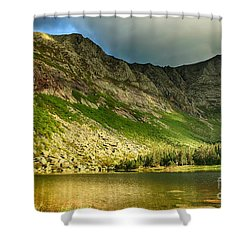 Sun Shining On Chimney Pond  Shower Curtain