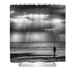 Sun Through The Clouds Bw 11x14 Shower Curtain