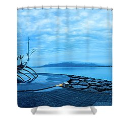 Sun Voyager Viking Ship In Iceland Shower Curtain