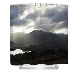 Sunbeams In Glen Affric Shower Curtain by Sue Arber