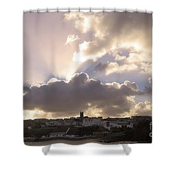 Shower Curtain featuring the photograph Sunbeams Over Church In Color by Nicholas Burningham