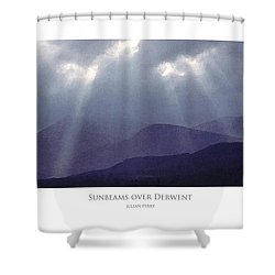Shower Curtain featuring the digital art Sunbeams Over Derwent by Julian Perry