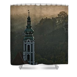 Shower Curtain featuring the photograph Sunbeams Through The Morning Fog by Stuart Litoff