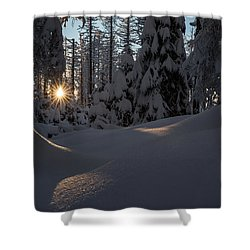 Sunburst In Winter Fairytale Forest Harz Shower Curtain