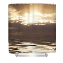 Sunburst Over Water Shower Curtain by Bill Cannon