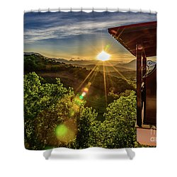 Sunburst View From Dellas Boutique Hotel Near Meteora In Kastraki, Kalambaka, Greece Shower Curtain