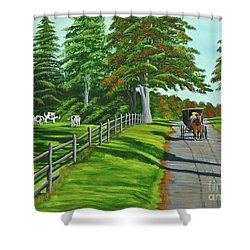 Sunday Drive Shower Curtain by Charlotte Blanchard
