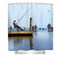 Sunday Fisherman Shower Curtain