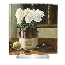 Shower Curtain featuring the painting Sunday Morning And Roses - Study by Marlene Book