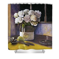 Shower Curtain featuring the painting Sunday Morning And Roses Redux by Marlene Book