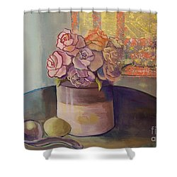 Sunday Morning Roses Through The Looking Glass Shower Curtain