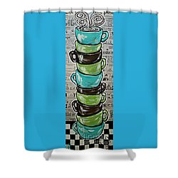 Sundays Cup A Joe Dark Roast Shower Curtain by Jackie Carpenter
