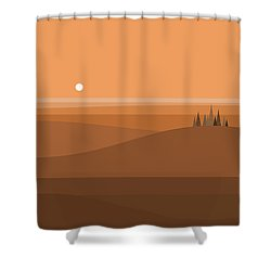 Sundown Browns Shower Curtain by Val Arie