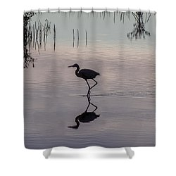 Sundown Heron Silhouette Shower Curtain