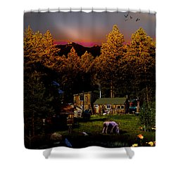 Sundown In The Rockies Shower Curtain by J Griff Griffin