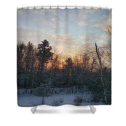Sundown Winter New England Shower Curtain