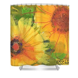 Big Sunflowers Watercolor And Pastel Painting Sf018 By Kmcelwaine Shower Curtain
