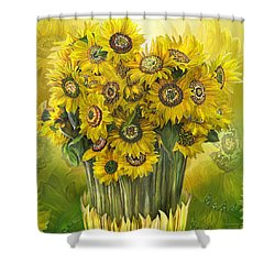 Shower Curtain featuring the mixed media Sunflower Bouquet by Carol Cavalaris