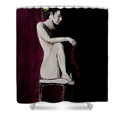 Shower Curtain featuring the painting Sunflower.. by Cristina Mihailescu
