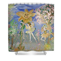 Shower Curtain featuring the painting Sunflower Fairies by Judith Desrosiers