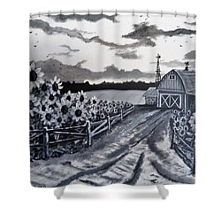 Shower Curtain featuring the painting Sunflower Farm by Kevin F Heuman