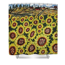 Sunflower Fields  Forever Shower Curtain by Jeffrey Koss