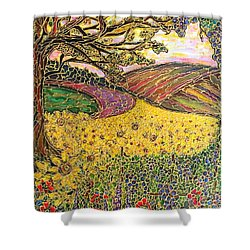 Shower Curtain featuring the painting Sunflower Fields by Rae Chichilnitsky