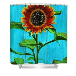 Sunflower On Blue Shower Curtain